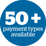 50+ payment types available